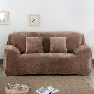 Image 1 - чехол для дивана эластичная плюшевая ткань для гостиной эластичное кресло с чехлом 1/2/3/4 места в наличии сплошное и с принтом