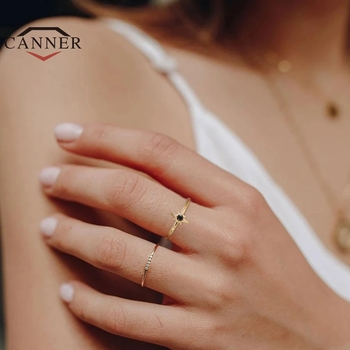 CANNER 925 Sterling Silver Rings for Women Cute Snake Round Ring Black Zircon Gold Color Fine Jewelry Minimalist Gift anillos