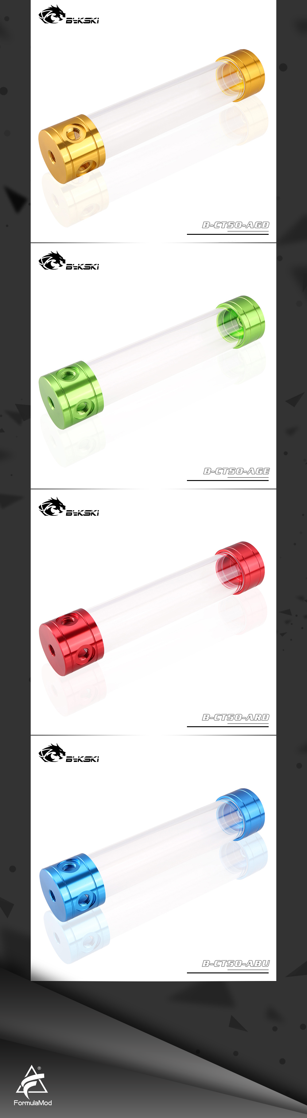 Bykski B-CT50-AL, 50mm Cylinder Reservoirs, Aluminum Alloy Cover Acrylic Body, 50mm Diameter 150/200/260mm Length