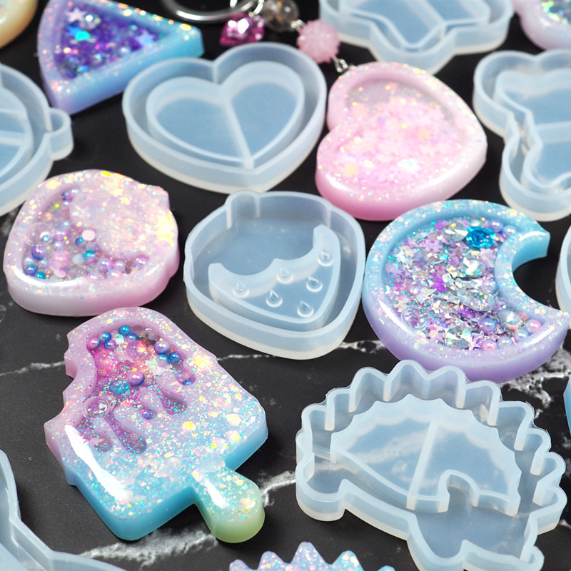 Shake Ice Cream Charm Silicone Mold Drippy Popsicle Resin Mold Star Bear Key Chain Mold Kawaii Craft UV Resin Supplies 1pc
