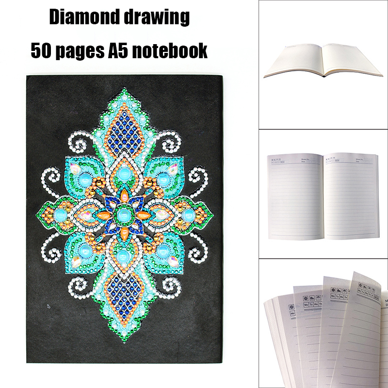 1Pcs DIY Mandala Diamond Painting Notebook 50 Pages A5 Sketchbook Embroidery Cross Stitch Diary Book