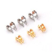 50 unids/lote de cuentas de acero inoxidable, 1,5/2/3, 2mm, conector de cadena de bolas, cierre final para fabricación de joyas DIY