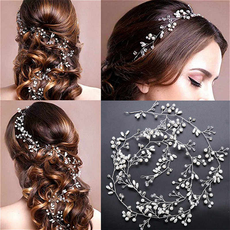 2019 New Crystal Pearl Hair Belt Wedding Bridal Hair Ornaments Hair Jewelry Decorations for Brides Wedding Hair Accessories 35cm