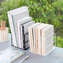 Metal Hollow Desktop Organizer Bookends Book Ends Support Stand Holder Shelf Bookrack Home Office Supplies Portable Bookend