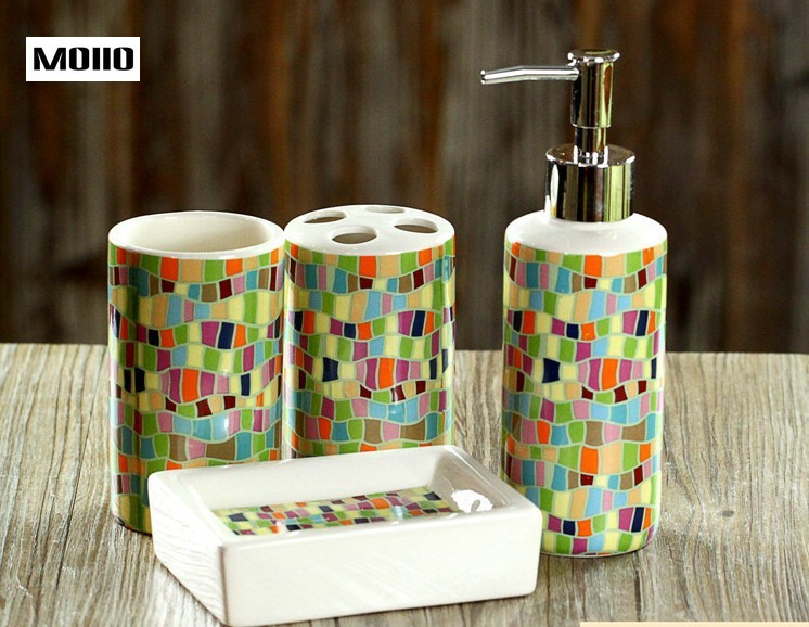 Bathroom sets 4Pcs/Set Imitation Stone Soap Dispenser/Toothpaste Holder Household Bath Set Ceramic Bathing Tool Accessories