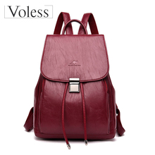 Hot Sale Women Leather Backpacks 2019 Female Shoulder Bag Sac A Dos Ladies Back Pack Vintage School Bags for Girls Travel Bags стоимость