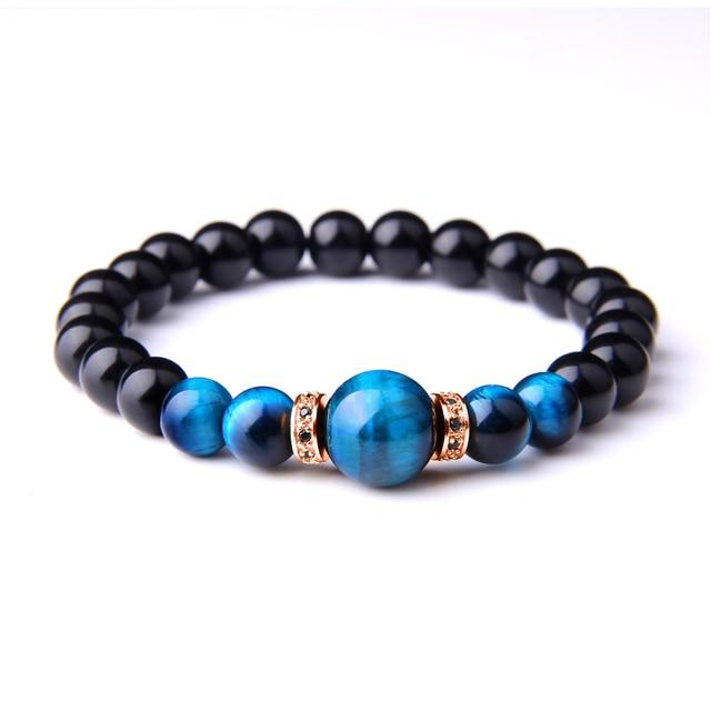 Bransoletki z kamienia naturalnego mężczyźni Royal Blue tygrysie oko bransoletki zdrowa energia bransoletka modna CZ Charm koraliki z czarnego onyksu Pulsera