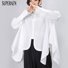 SuperAen 2019 New Shirt Female Solid Color Cotton Europe Women Blouses and Tops Autumn Irregular Long-sleeved Women Clothing