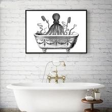 Tentáculos Vintage pulpo imprime la decoración del baño, pulpo Té café cartel Retro pared arte lienzo pintura cocina Decoración