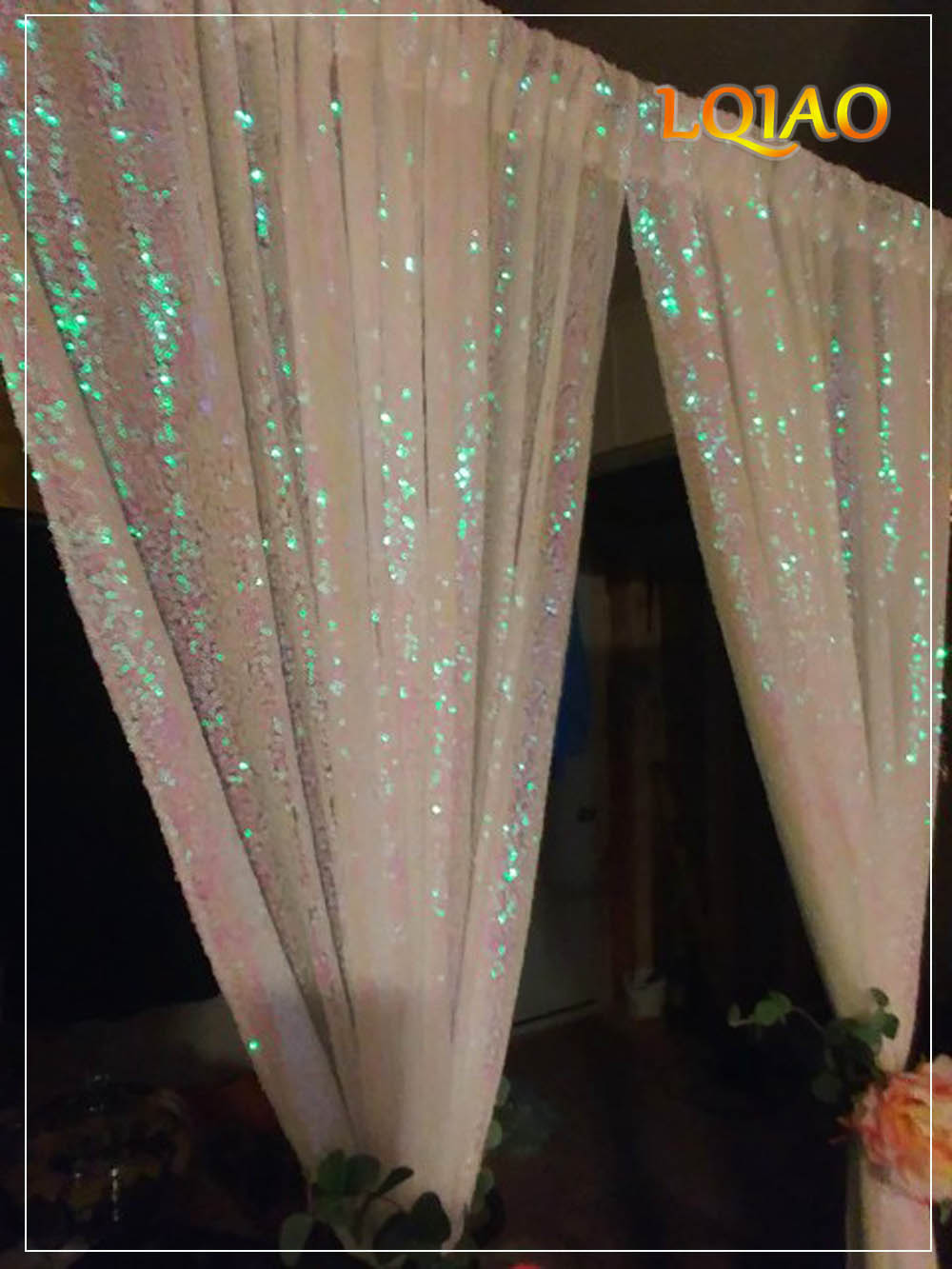 Image 3 - 5FT*6FT/10FT*10FT White/Gold Sequin Backdrops,Party Wedding Photo Booth Backdrop Decoration,Sequin curtains,Drape,Sequin panels-in Party Backdrops from Home & Garden