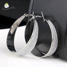 Новое поступление, модные,, большие, посеребренные, матовые серьги-кольца для женщин, свадебные, вечерние, ювелирные изделия A2228