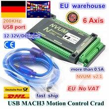 【DE free VAT】 NVUM 6 Axis Mach3 USB Card 300KHz CNC router 6 Axis Motion Control Card Breakout Board for DIY Engraver Engraving
