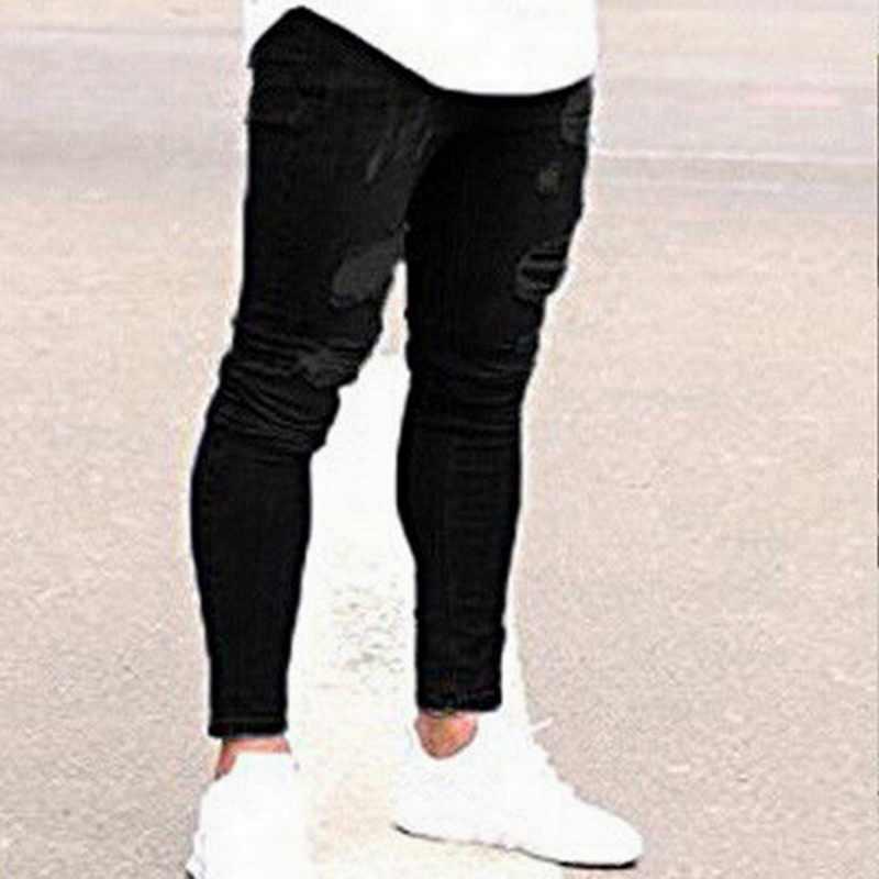 Shujin Mode Streetwear Heren Jeans Vernietigd Ripped Ontwerp Potlood Broek Skinny Mannen Volledige Lengte Jeans