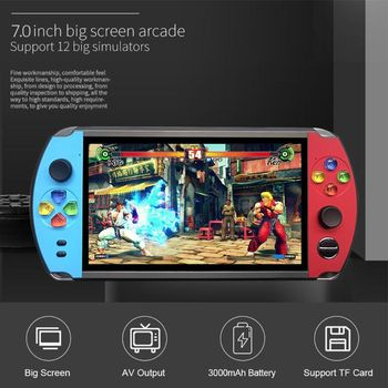 """X19 Retro Handheld Game Player 8/16GB 7.0"""" Screen FC Arcade Video Game Console 95AF"""