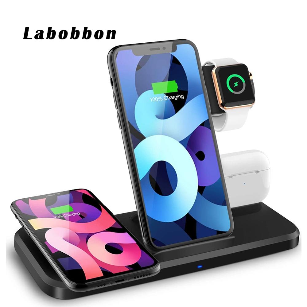 Labobbon 15 Вт быстрая зарядная док-станция для AirPods Pro iWatch 6 SE 5 4 Беспроводное зарядное устройство Подставка 4 в 1 для iPhone 11 Pro Max XS X