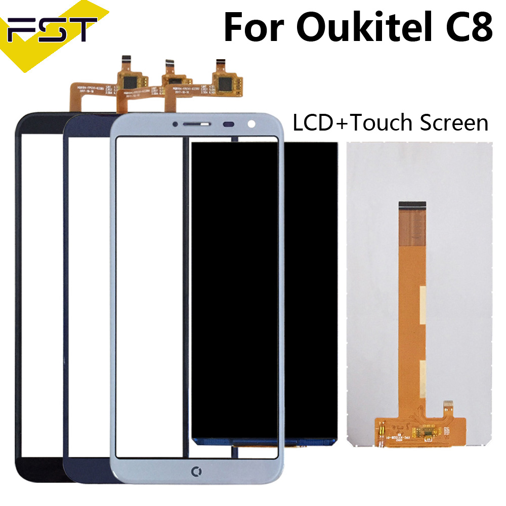 100% Tested For Oukitel C8 LCD Display+Touch Screen Screen Digitizer Repair Parts+Tools +Adhesive LCD Glass Panel For C8