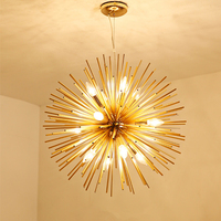 Nordic modern Pendant Lights Golden Dandelion Metal Designer Pendant Lamps Living Room Restaurant Spark Ball Bar iron fixtures