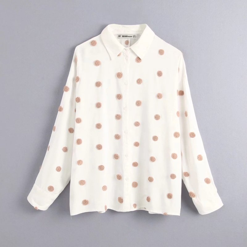 Polka Dot Embroidery Women Long Sleeve Shirt 2020 Autumn Leisure Lady Turn-down Collar Blouse Loose Tops S6360