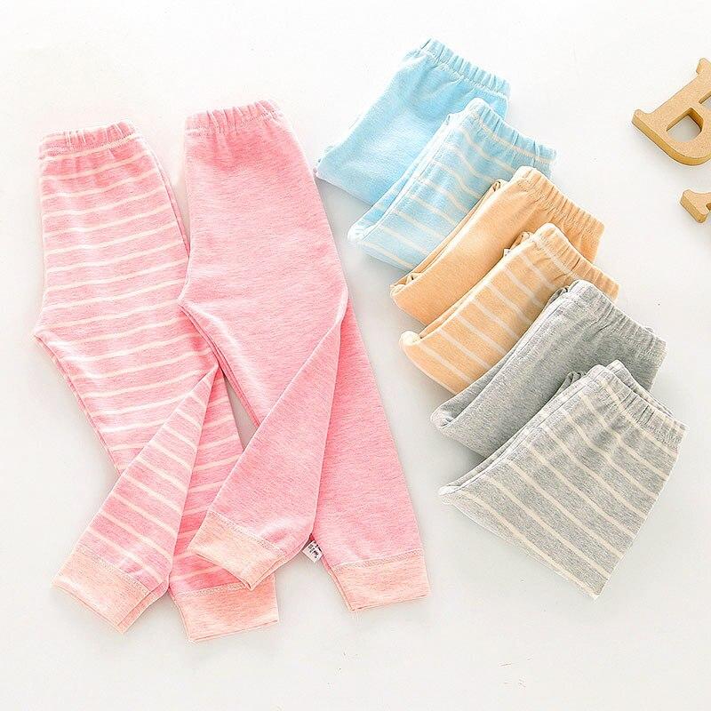 Girls Stripe Pants Baby Cotton Long-Trousers 2021 Autumn Spring Children Cotton Thick Pajamas Sleepwear Boys Leggings Teenage