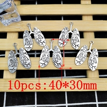 10pcs / 1Pack Personality Jewelry Pendant Accessories Silver Human Lung Model Metal Ornament Keychain Necklace Ornament стоимость