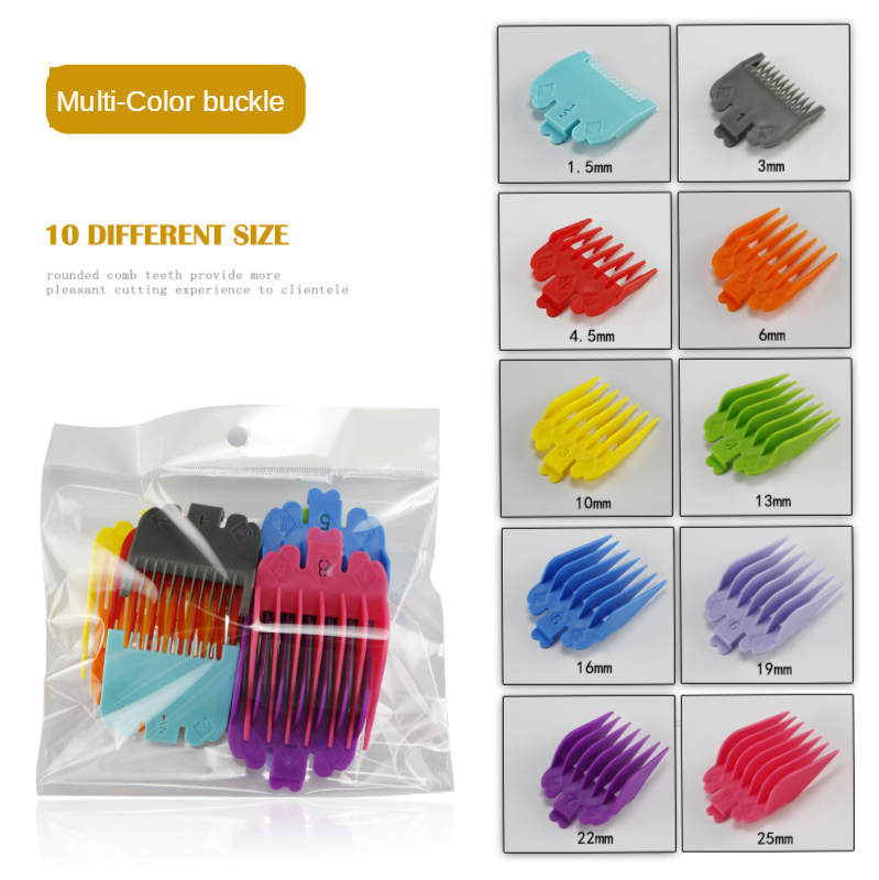 10Pcs Universal Hair Clipper Limit Comb Guide Attachment Size Barber Replacement For Wahl 1.5/3/4.5/6/10/13/16/19/22/25mm G0427