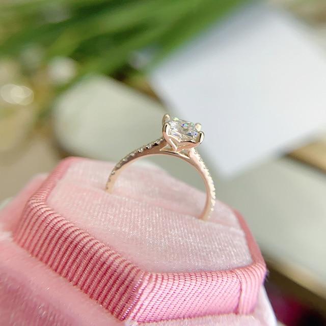 Kuololit 585 14k 10k 1.5ct moissanite anel para as mulheres princesa corte vvs solitaire anel para noivado nupcial promessa aniversário 6