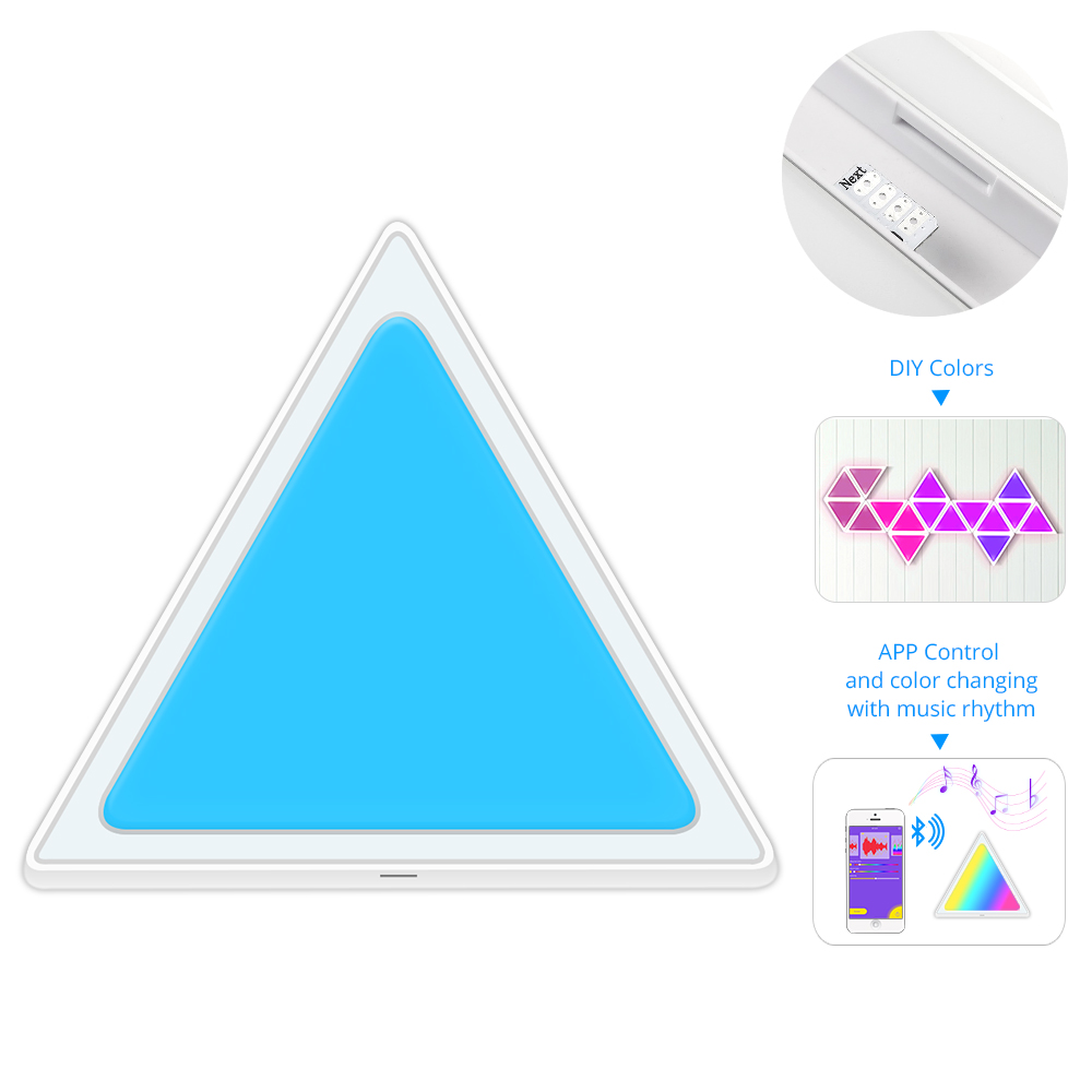 Smart LED Light Triangle Panes Multicolor Bluetooth Control Music Control Kit For Room/Party/Wall Lighting