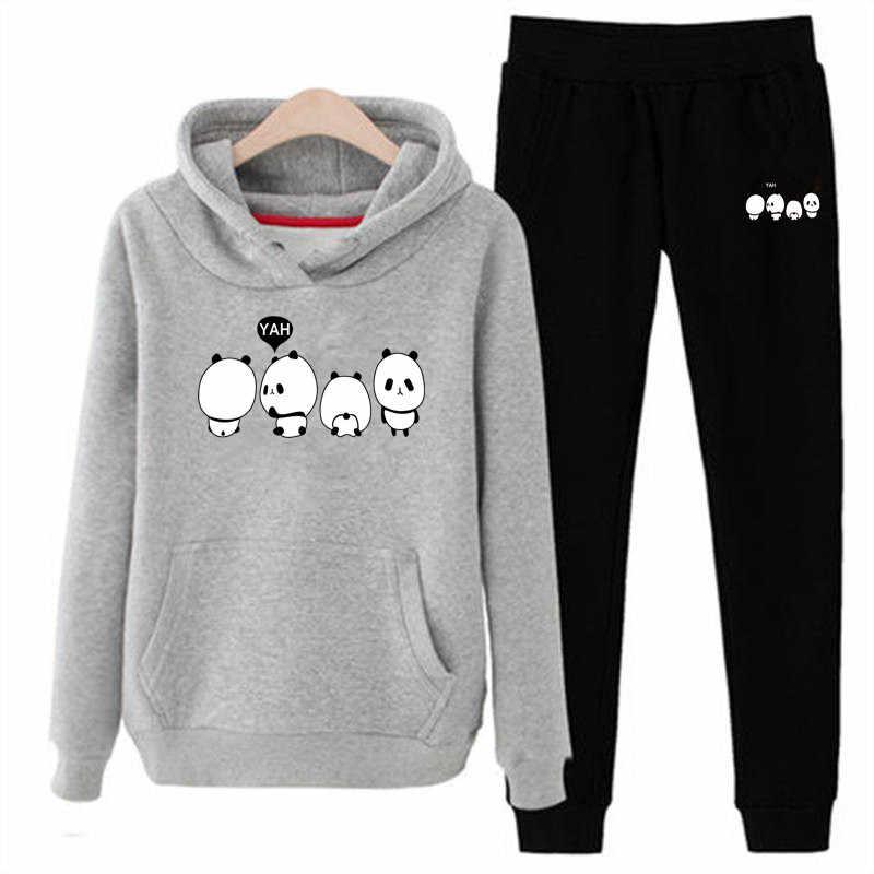 P71 3xl panda mujeres Sudadera con capucha conjunto de ropa Casual 2 piezas conjunto de ropa de abrigo sólido chándal mujeres conjunto de pantalones señoras traje