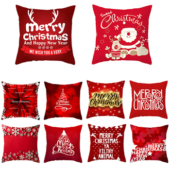 45*45cm Merry Christmas Cushion Cover Red Christmas Tree Santa Claus Santa Claus Pipe Greeting Text Pillow Cover image