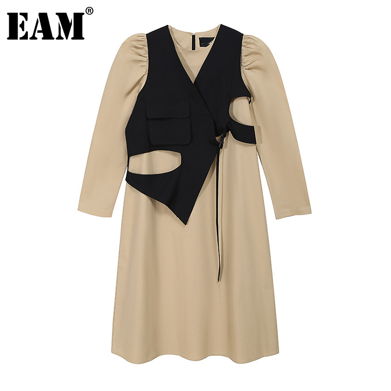 [EAM] Women Khaki Hollow Out Irregular Long Dress New Round Neck Long Sleeve Loose Fit Fashion Tide Spring Autumn 2020 1Z651