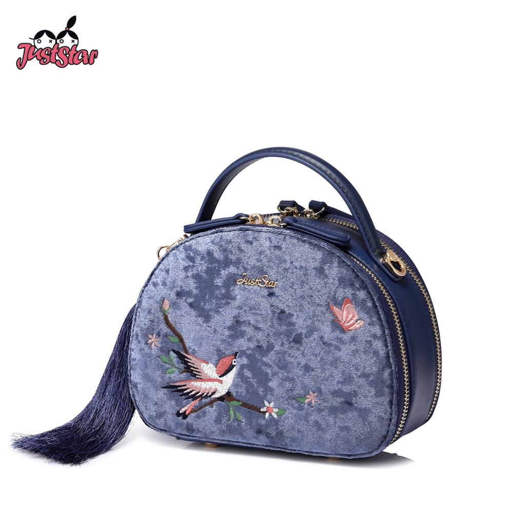 JUST STAR Brand PU Leather Tote Purse Chinese Style Tassel Embroidery Bird Women's Handbags