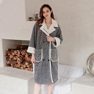 Image 3 - 2019 cardigan inverno pijamas das mulheres quente roupão grosso quente coral velo bordado robe solto roupas de casa sleepwear