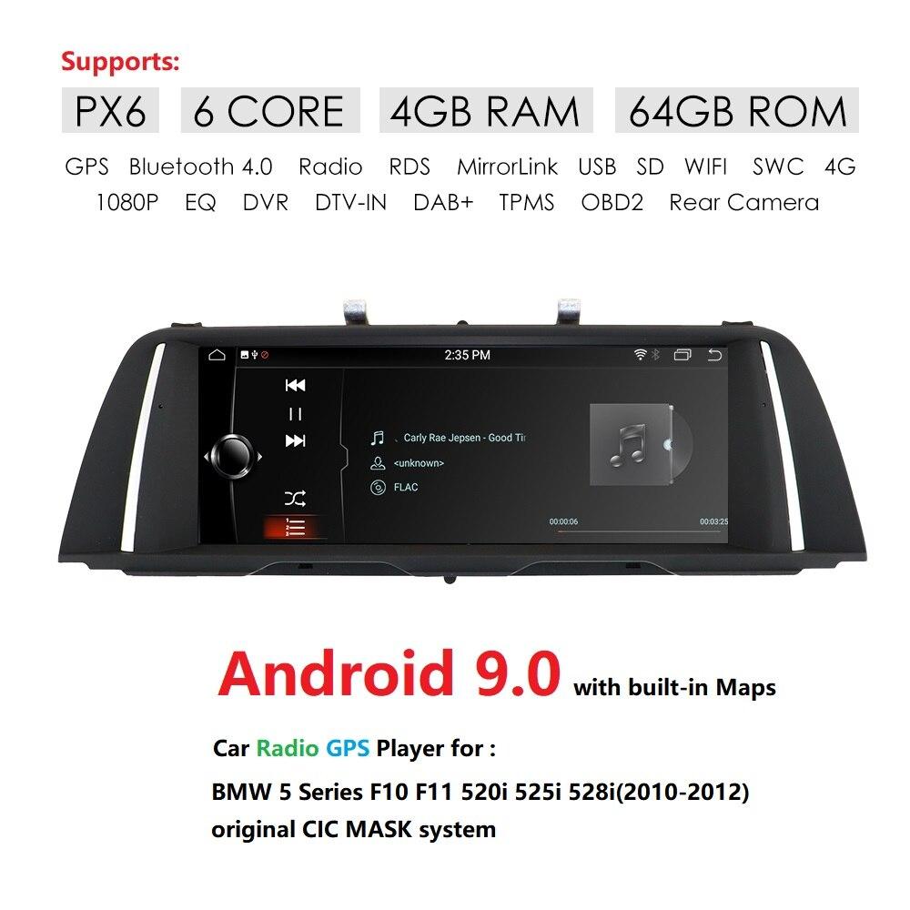 PX6 6 Core Android 9.0 unité de tête de voiture pour BMW série 5 F10 F11 520i 525i 528i (2010-2012) CIC voiture GPS Navigation multimédia Radio