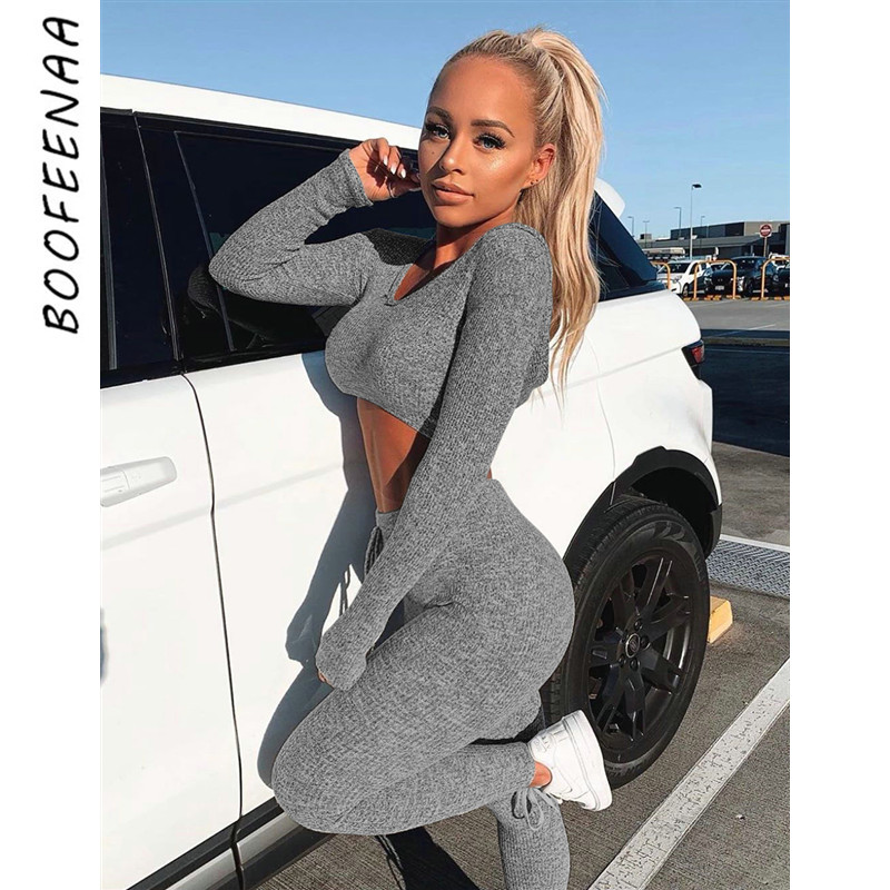 BOOFEENAA Sexy Women Tracksuit Cute 2 Piece Set Sexy Sweatsuit Two Piece Set Top and Pants Sweater Autumn Winter Outfits C34AE17