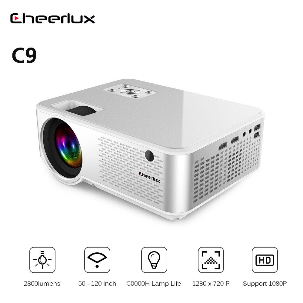 Cheerlux C9 LCD projecteur 2800 lumens 1280x720P Support 1080P HDMI + USB + VGA 50-20 pouces Home cinéma divertissement Commercial