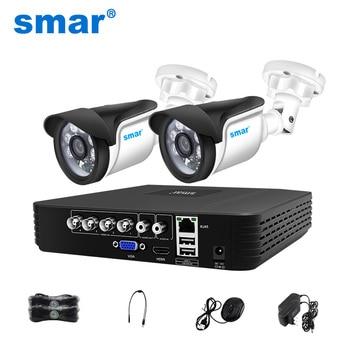 Smar 4CH 1080N 5in1 AHD DVR Kit CCTV sistema 2 uds 720P/1080P AHD impermeable/Bullet cámara de seguridad vigilancia Set de alarma de correo electrónico