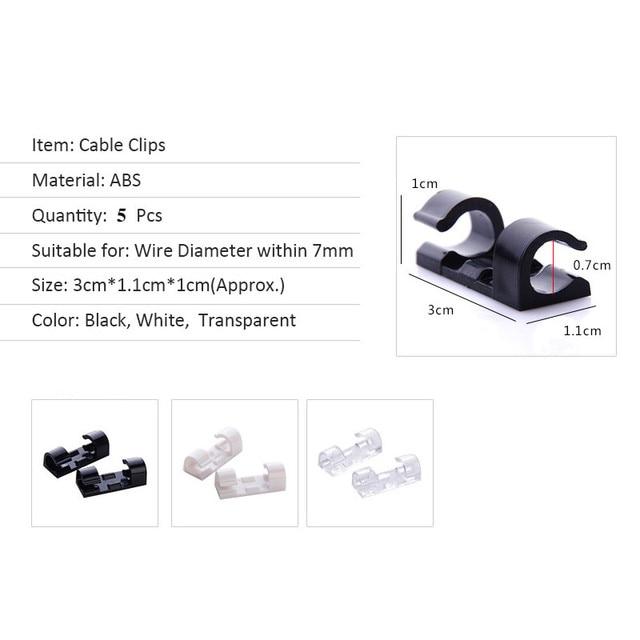 Cable Organizer Clips Cable Management Desktop & Workstation ABS Wire Manager Cord Holder USB Charging Data Line Bobbin Winder 5
