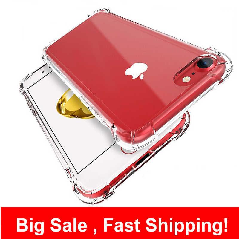 โทรศัพท์กรณีสำหรับ IPhone 6 7 8 PLUS X XR XS 11 PRO MAX ซิลิโคนกันกระแทกกรณีโปร่งใสป้องกัน funda 6 S 11 Coque
