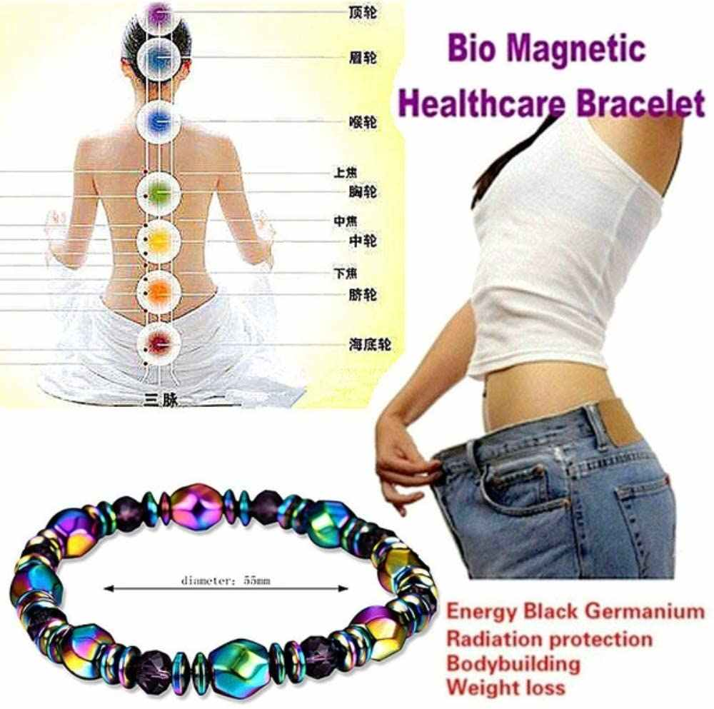 Magnetic Energy Healing Bracelet Colorful Hematite Chain Unisex Magnet Health Care Arthritis Relief Weight Loss Body Fat Burners