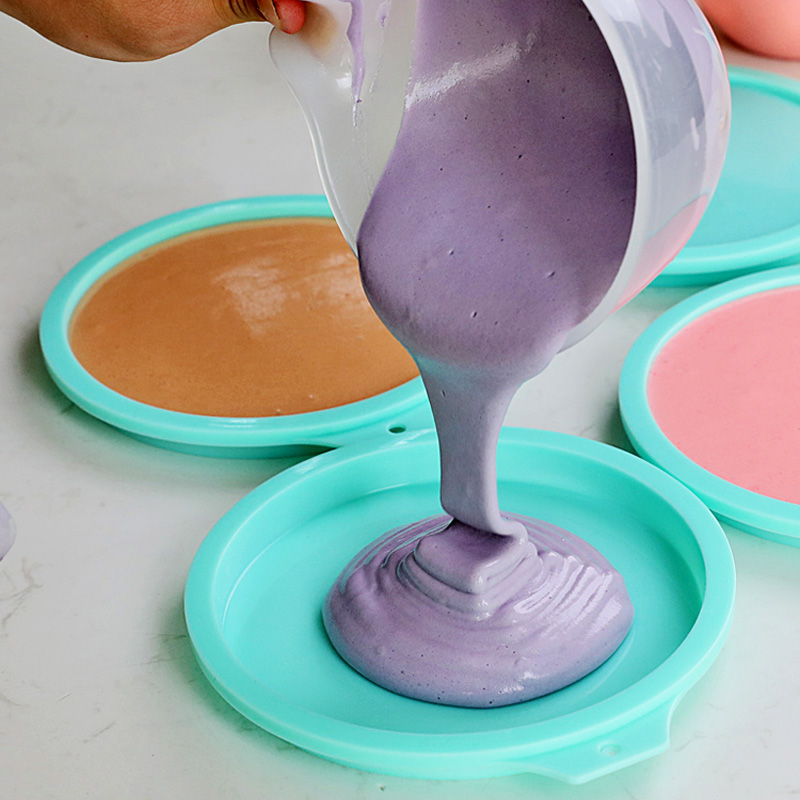 4pcs 8 Inch Non-stick Silicone Round Rainbow Cake Mold Pizza Baking DIY U4Z9