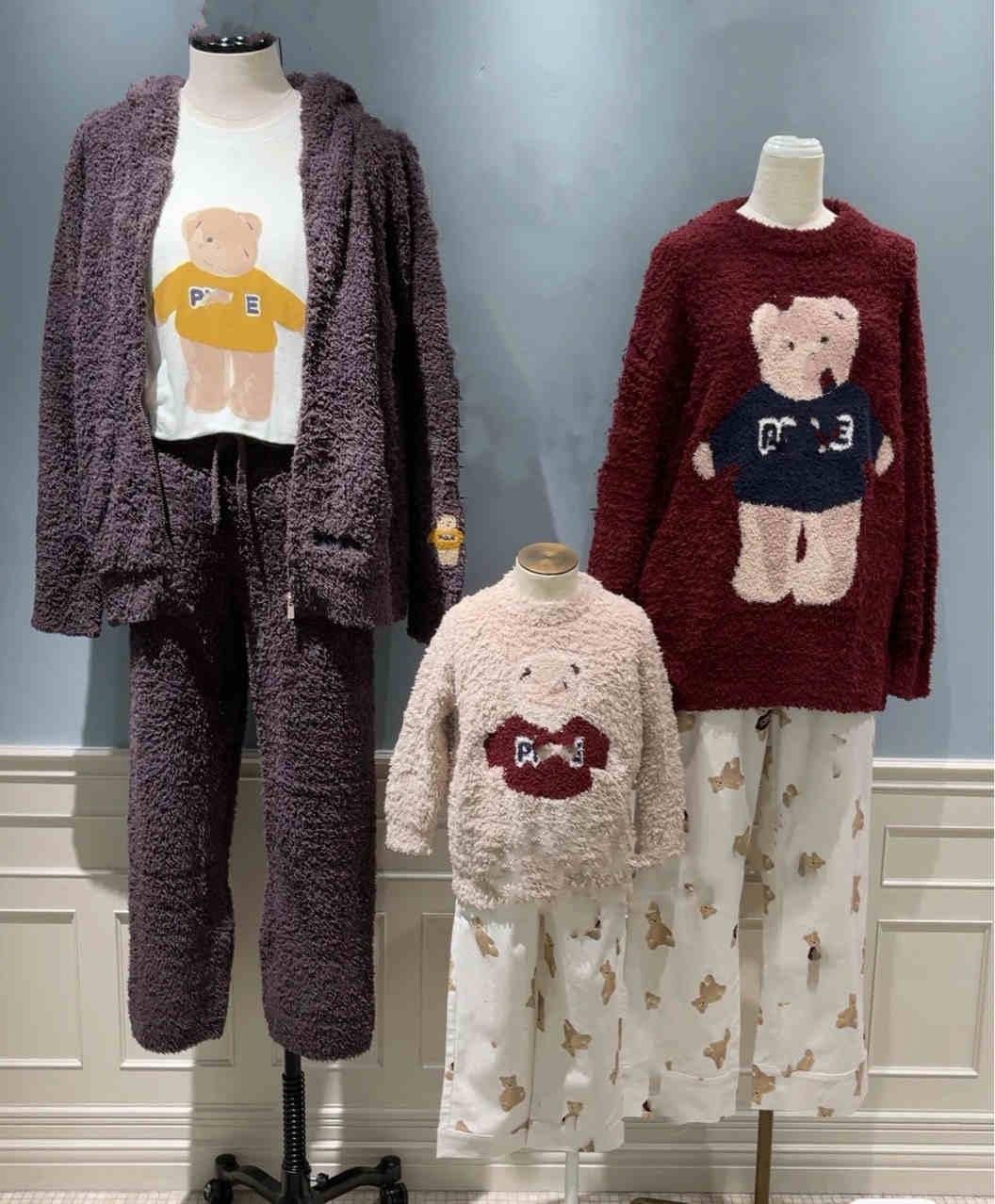 Automne et hiver 2020 parent enfant mignon dessin animé vêtements pour enfants hommes épaissi chaud doux maison vêtements