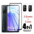 4 in 1 auf für Xiaomi mi 10t pro 5G Gehärtetem glas screen protector xiami 10t pro 2020 glas Für mi 10T lite Pro Kamera objektiv Film