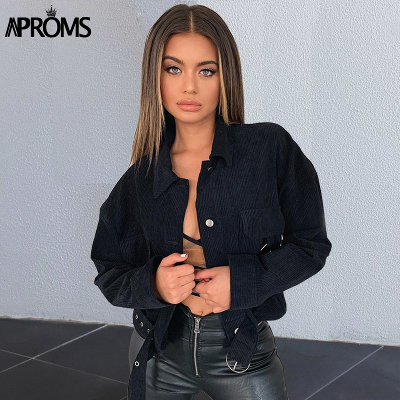 Aproms Vintage Khaki Corduroy   Basic     Jacket   Women Autumn Winter Elegant Belt Oversize Coat Female Street Style Outerwear 2019