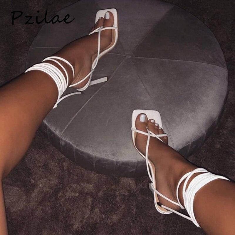 Pzilae Summer women sandals narrow band vintage square toe high heels cross strap thong sandals women V shape design shoes women 1