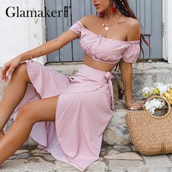 Glamaker Polka dot flower office ladies women set Off shoulder crop top and skirts 2 piece suit Fashion puff sleeve summer skirt 1