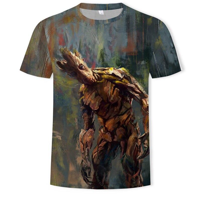 Men 3D T Shirt Groot Cartoon Summer Short Sleeve Tops Tees,Funny Printed 3D Fun Harajuku Tshirt Asian Plus-size New Men T-shirt