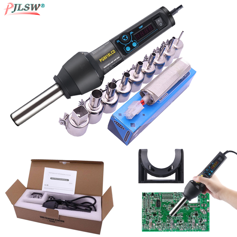650W EU US PG8018LCD Adjustable Electronic Heat Hot Air Gun Desoldering Soldering Station IC SMD BGA+Nozzle 650W Hot Air Blower