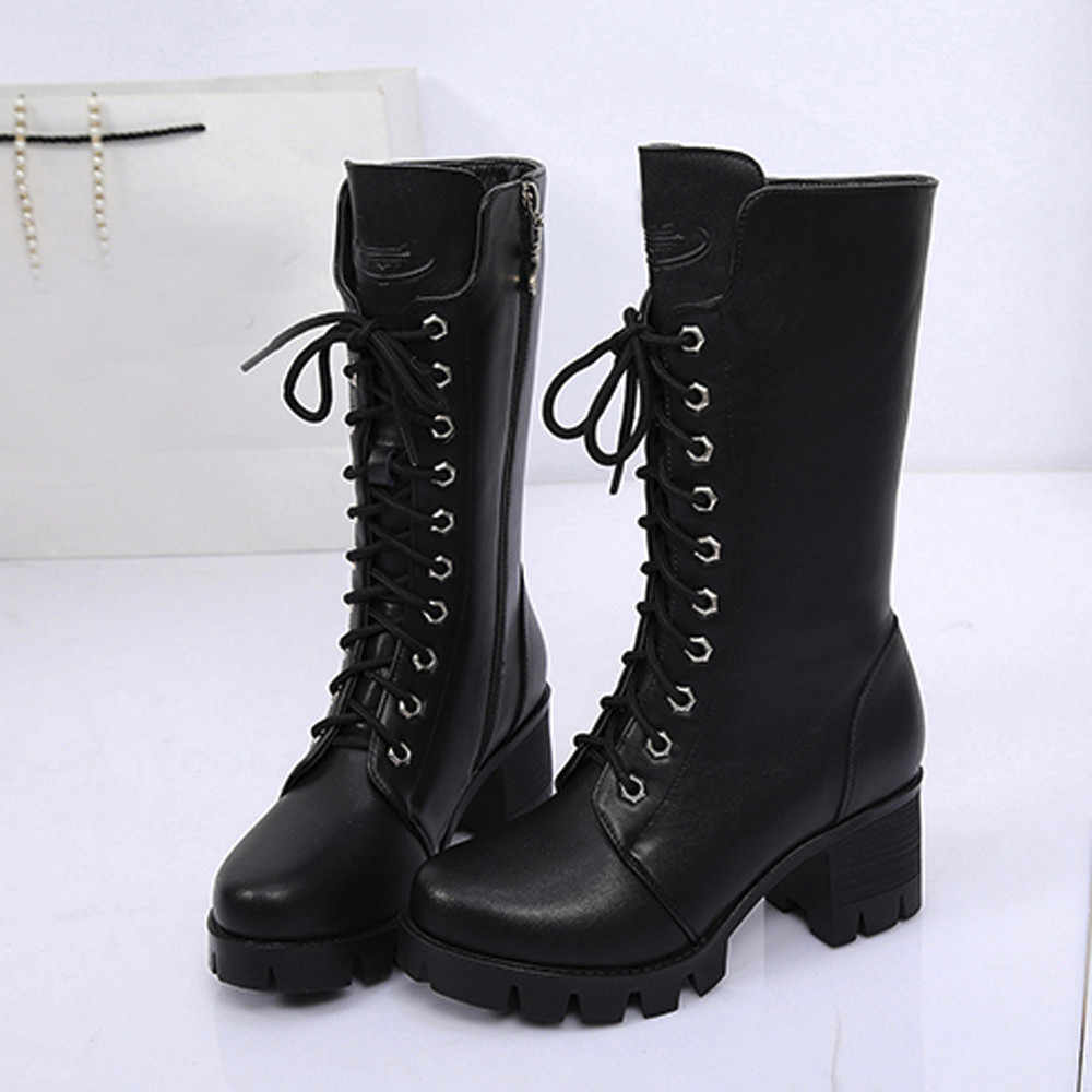 SAGACE Ladies Knee High Boots Zip Boot Platform Woman Punk Shoes Lightweight Lace Up Comfortable Large Size 36-40