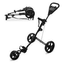 3 Wheels Golf Trolley Push Cart Professional Folding Golf Bag Trolley Scorecard Cup Holder Foot Brake Multifunctional Carrier