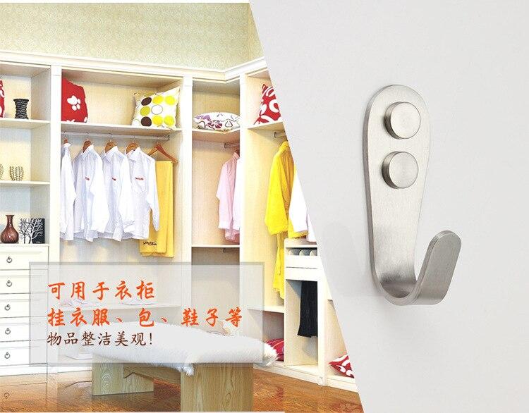 Толстые Нержавеющаясталь крючок для одежды шкаф Ванная комната одежда крючок, крючки для пальто навешивания двери выдерживает тяжелые